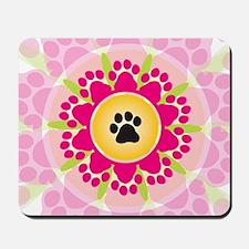 Paw Prints Flower Mousepad