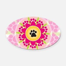 Paw Prints Flower Oval Car Magnet