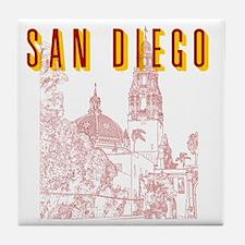 SanDiego_10x10_CaliforniaTower_BrownY Tile Coaster