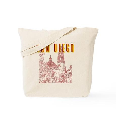 SanDiego_10x10_CaliforniaTower_BrownYello Tote Bag