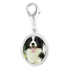 Border Collie 9A014D-14 Silver Oval Charm