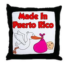 Made In Puerto Rico Girl Throw Pillow