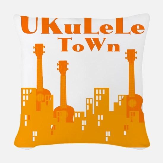 Ukulele Town Orange Woven Throw Pillow