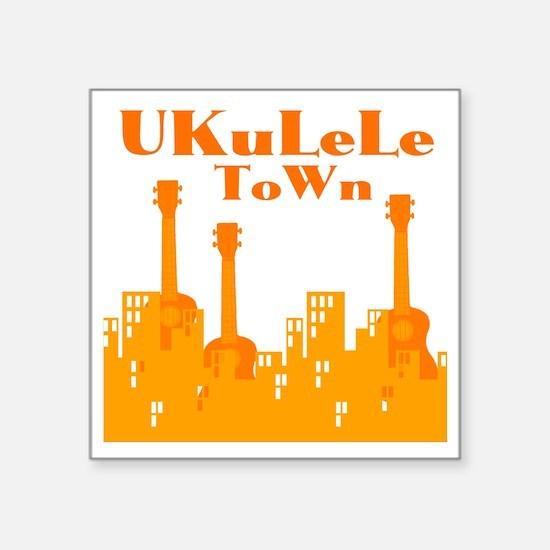 """Ukulele Town Orange Square Sticker 3"""" x 3"""""""