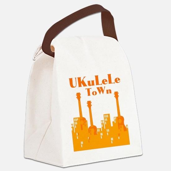 Ukulele Town Orange Canvas Lunch Bag