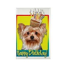 BirthdayCupcakeYorkieHB Rectangle Magnet
