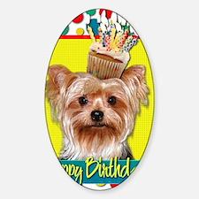 BirthdayCupcakeYorkie Sticker (Oval)