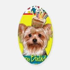 BirthdayCupcakeYorkie Oval Car Magnet