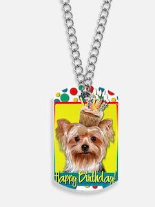 BirthdayCupcakeYorkie Dog Tags
