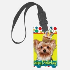BirthdayCupcakeYorkie Luggage Tag