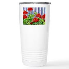 Geraniums on Fence Travel Mug
