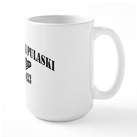 cpulaski black letters Large Mug