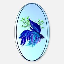 OvalJewelBig Blue Siamese Fighting  Decal