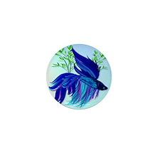 Big Blue Siamese Fighting Fish_pillow Mini Button