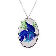 Big Blue Simaese Fighting Fish Necklace