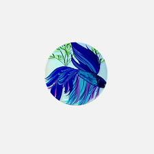 Big Blue Simaese Fighting Fish PosterP Mini Button