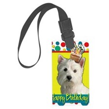 BirthdayCupcakeWestie Luggage Tag