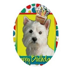 BirthdayCupcakeWestie Oval Ornament