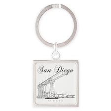 SanDiego_10x10_CoronadoBridge_Blac Square Keychain