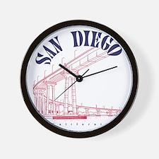 SanDiego_10x10_CoronadoBridge_BlueRed Wall Clock