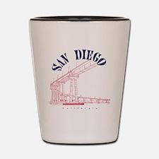 SanDiego_10x10_CoronadoBridge_BlueRed Shot Glass