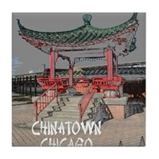 CHINATOWN CHICAGO POSTER1 Tile Coaster