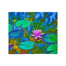Lilypad Lotus Waterlily Bright Pink Throw Blanket