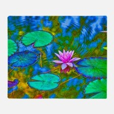 Lilypad Lotus Waterlily Bright Pink Throw Blanket