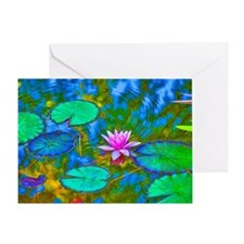 Lilypad Lotus Waterlily Bright Pink Greeting Card