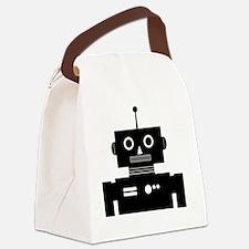 Retro Robot Shape Black Canvas Lunch Bag