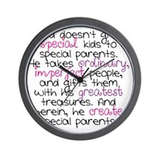Special Parents white Girl Wall Clock