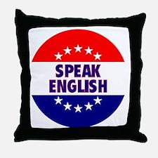 RoundButtonsMagnetsSpeakEnglish Throw Pillow
