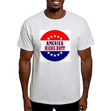 RoundButtonsMagnetsAmericaKicksButt T-Shirt
