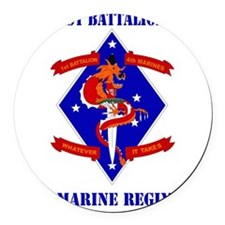 SSI-4TH MARINE RGT-1ST BN  WITH T Round Car Magnet