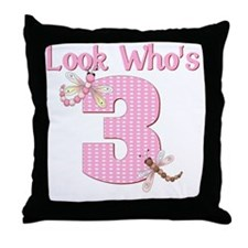 birthday 3 dragonfly Throw Pillow