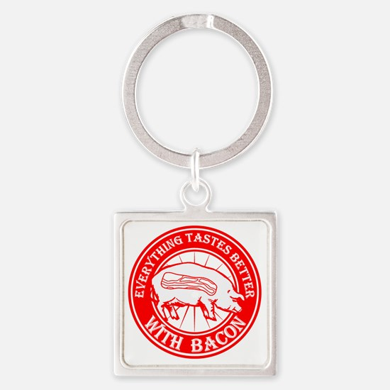 Pig- Red Square Keychain