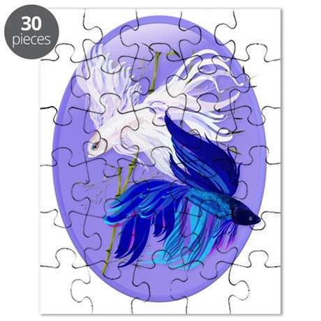 blue n white siamese fighting fish oval tra puzzle by