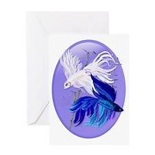 Blue n White Siamese Fighting Fish O Greeting Card