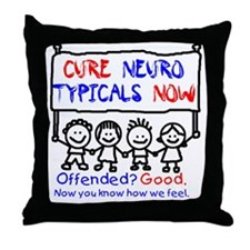 Awareness tee nerotypical black Throw Pillow
