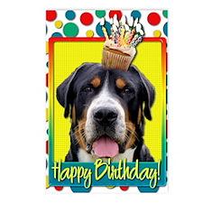 BirthdayCupcakeSwissMount Postcards (Package of 8)