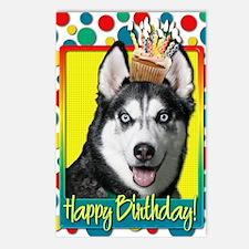 BirthdayCupcakeSiberianHu Postcards (Package of 8)