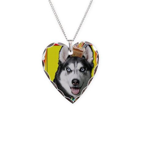 BirthdayCupcakeSiberianHusky Necklace Heart Charm