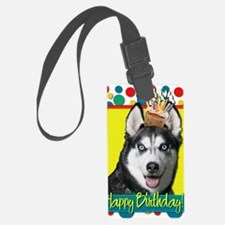 BirthdayCupcakeSiberianHusky Luggage Tag