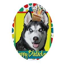 BirthdayCupcakeSiberianHusky Oval Ornament