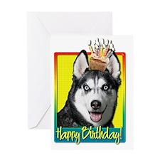 BirthdayCupcakeSiberianHuskyHB Greeting Card