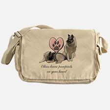 elkie pawprints Messenger Bag
