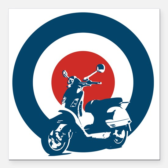 """Scooter Square Car Magnet 3"""" x 3"""""""