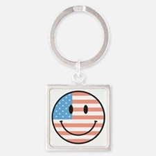 flag smiley Square Keychain