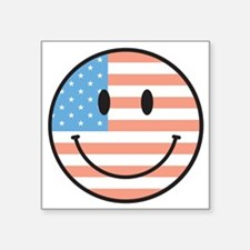 "flag smiley Square Sticker 3"" x 3"""
