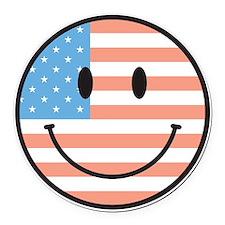 flag smiley Round Car Magnet